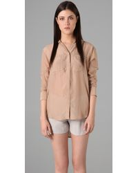 T By Alexander Wang - Pink Silk Chiffon Blouse with Pockets - Lyst