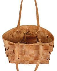 Diverso Italiano - Brown Woven Leather and Linen Shoulder Bag - Lyst