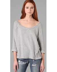 Free People Gray Cropped French Terry Pullover