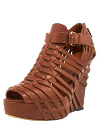 Givenchy - Brown Corinne Woven Leather Wedge Sandals - Lyst