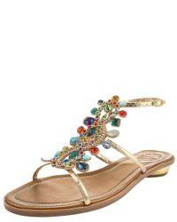 Rene Caovilla | Multicolor Multi-crystal Flat Ankle-wrap Sandal | Lyst