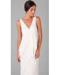 Alice + Olivia - White Faux Wrap Gown - Lyst