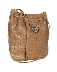 Jimmy Choo | Brown Taupe Croc Embossed Leather Ryad Crossbody Bag | Lyst