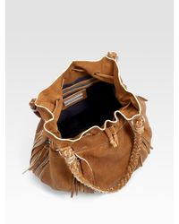 Olivia Harris | Natural Braided Handle Suede Drawstring Bag | Lyst