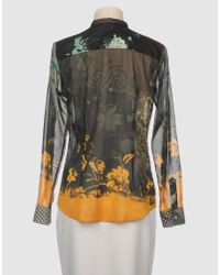 Etro - Green Floral Lace-trim Ruffled Blouse - Lyst