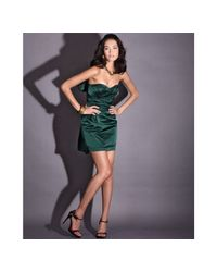 Vera Wang Lavender | Green Emerald Satin Sash Detail Strapless Dress | Lyst