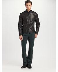 Armani | Black Knit-trim Leather Jacket for Men | Lyst