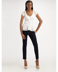 Nanette Lepore | White Short Sleeve Lace Tousled Top | Lyst