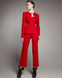 Alexander McQueen | Red Crepe Ankle Pants | Lyst