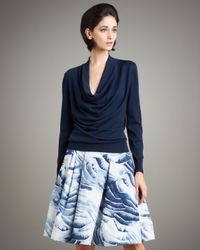 Carolina Herrera | Gray Feather-print Stretch Cotton Skirt | Lyst