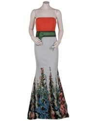 Carolina Herrera - Green Strapless Floral Gown - Lyst