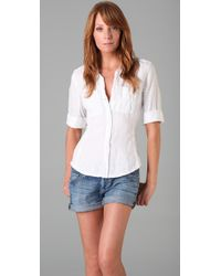 James Perse | White Classic Panel Linen Blouse | Lyst