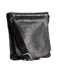 John Varvatos | Black Leather Whipstiched Slim Messenger Bag for Men | Lyst