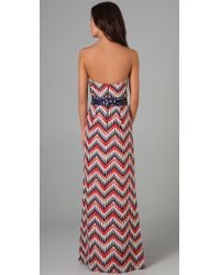 MILLY - Multicolor Strapless Hostess Gown - Lyst