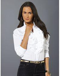 b3dfbbe10d8398 Lauren by Ralph Lauren Long Sleeved Ruffle Neck Shirt in White - Lyst