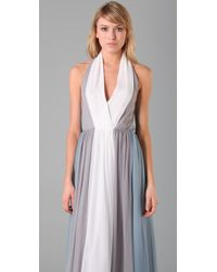 Adam Lippes - Natural Colorblock Long Halter Dress - Lyst