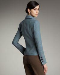 Akris | Blue Tweed Asymmetric Button Jacket | Lyst