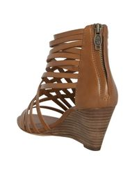 Ash   Brown Natural Leather Strappy Wedge Sandals   Lyst