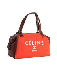 Céline   Orange Poppy Canvas and Leather Logo Print Satchel   Lyst