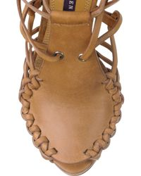 Ralph Lauren Collection | Brown Sherene Leather Sandals | Lyst