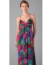Shoshanna | Multicolor Sunset Stripe Maxi Dress | Lyst