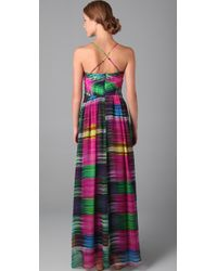 Shoshanna | Multicolor Sunset Stripe Maxi Dress | Lyst