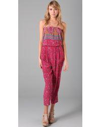 Tibi - Pink Paisley Strapless Jumpsuit - Lyst
