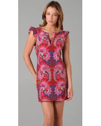 Tibi - Pink Isabella Cutout Printed Silk Dress - Lyst