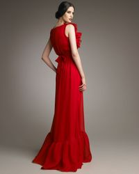 Valentino   Red Bow-waist Voulant Gown   Lyst