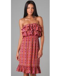Rebecca Taylor - Pink Strapless Tiered Bombay Dress - Lyst