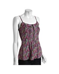 Heartloom | Pink Floral Print Milli Zipper Cami | Lyst