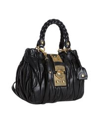 Miu Miu - Black Ruched Leather Matelasse Top Handle Bag - Lyst
