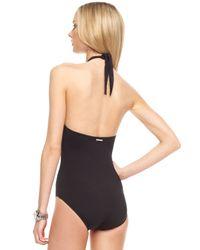 Michael Kors - Black Hammered Halter Swimsuit - Lyst