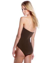 Michael Kors - Brown Lace-up Bandeau Swimsuit - Lyst