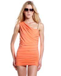 Michael Kors - Orange Draped One-shoulder Swimdress - Lyst