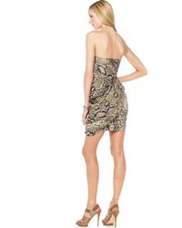 Michael Kors | Multicolor Michael Animal-print Strapless Dress | Lyst
