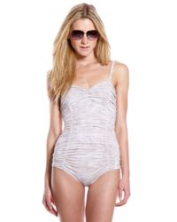 Michael Kors | Natural Marble Shirred One-piece | Lyst
