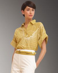 Akris - Yellow Embroidered Map Polo Blouse - Lyst