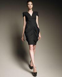 Alexander McQueen | Black Ruched Hip Cap-sleeve Dress | Lyst