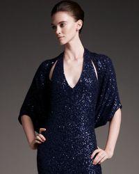Donna Karan | Blue Sequined Cashmere-silk Shrug | Lyst