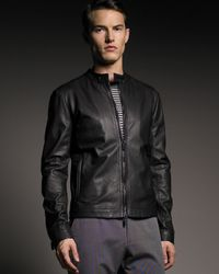 Giorgio Armani | Black Chevron Leather Blouson for Men | Lyst