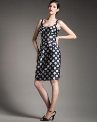 Giorgio Armani | Blue Polka-dot Sheath Dress | Lyst