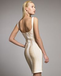 Hervé Léger | Natural Spaghetti-strap Bandage Dress, Pale Peach | Lyst