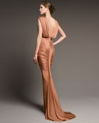 J. Mendel | Natural Ruched Jersey Gown | Lyst