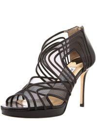 Jimmy Choo | Mesh Cage Platform Sandal, Black | Lyst