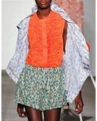 Karen Walker | Orange Runaway Ruffle Bib Blouse | Lyst