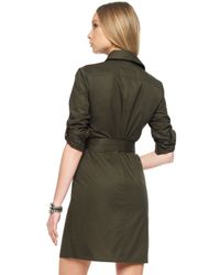 Michael Kors | Green Michael Casual Belted Safari Dress | Lyst