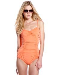Michael Kors | Orange Shirred Swimsuit | Lyst