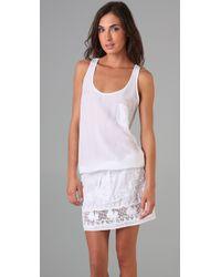 Monrow - White Crochet Tank Dress - Lyst