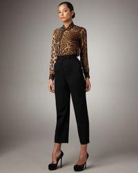 Saint Laurent | Black Cropped Wool Pants | Lyst